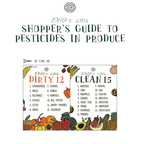 EWG Shopper Guide Dirty Dozen Clean Fifteen